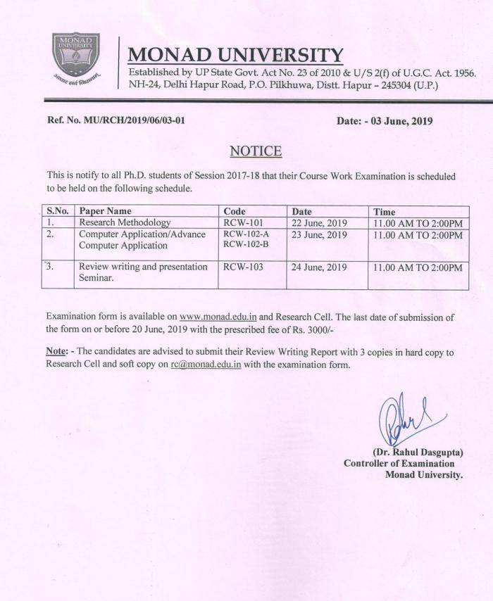 Ph D Course Work Examination Datesheet | Monad University